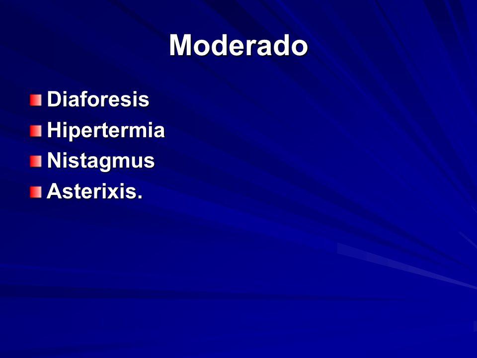 Moderado DiaforesisHipertermiaNistagmusAsterixis.