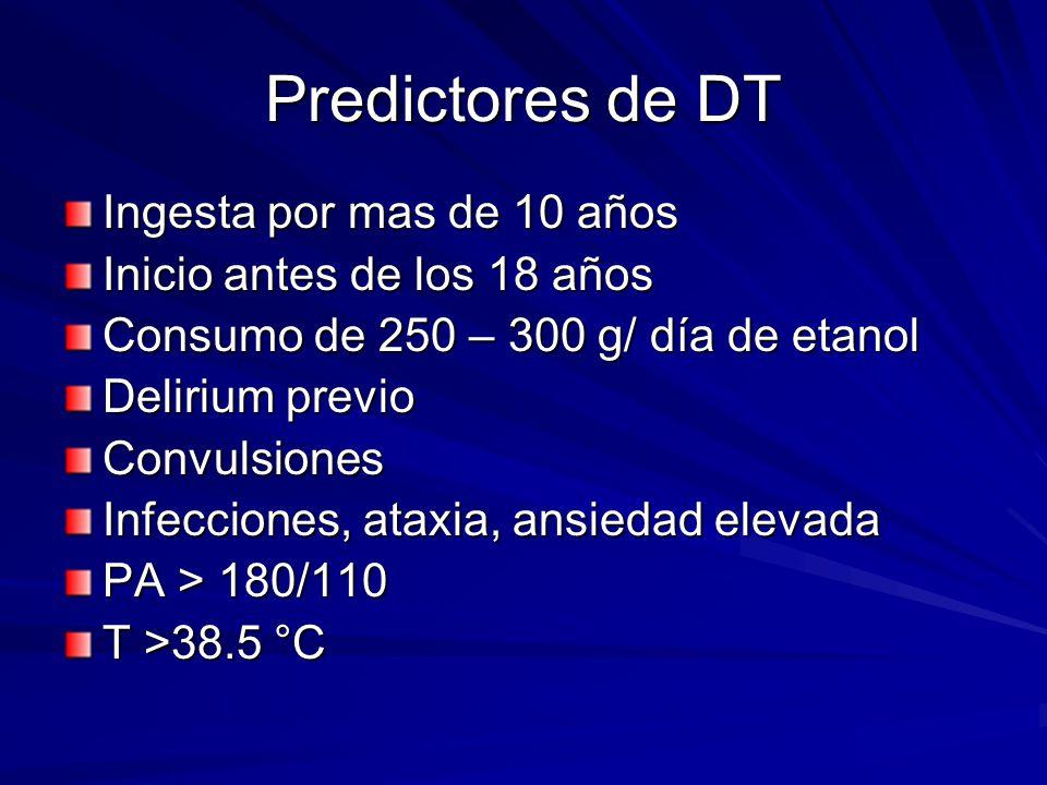 Predictores de DT Ingesta por mas de 10 años Inicio antes de los 18 años Consumo de 250 – 300 g/ día de etanol Delirium previo Convulsiones Infecciones, ataxia, ansiedad elevada PA > 180/110 T >38.5 °C