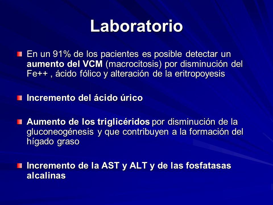 Laboratorio En un 91% de los pacientes es posible detectar un aumento del VCM (macrocitosis) por disminución del Fe++, ácido fólico y alteración de la eritropoyesis Incremento del ácido úrico Aumento de los triglicéridos por disminución de la gluconeogénesis y que contribuyen a la formación del hígado graso Incremento de la AST y ALT y de las fosfatasas alcalinas