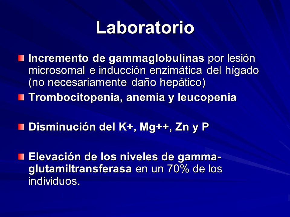 Laboratorio Incremento de gammaglobulinas por lesión microsomal e inducción enzimática del hígado (no necesariamente daño hepático) Trombocitopenia, anemia y leucopenia Disminución del K+, Mg++, Zn y P Elevación de los niveles de gamma- glutamiltransferasa en un 70% de los individuos.