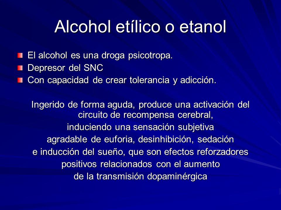 Alcohol etílico o etanol El alcohol es una droga psicotropa.