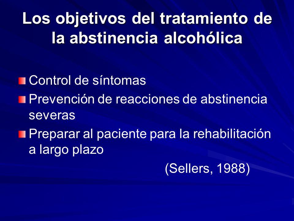 Los objetivos del tratamiento de la abstinencia alcohólica Control de síntomas Prevención de reacciones de abstinencia severas Preparar al paciente para la rehabilitación a largo plazo (Sellers, 1988)