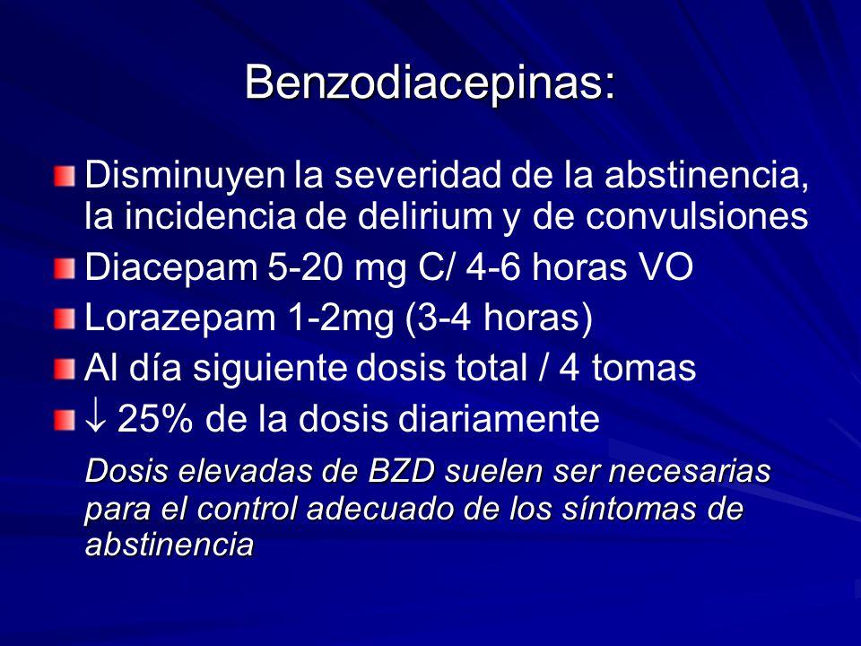 Benzodiacepinas: Disminuyen la severidad de la abstinencia, la incidencia de delirium y de convulsiones Diacepam 5-20 mg C/ 4-6 horas VO Lorazepam 1-2mg (3-4 horas) Al día siguiente dosis total / 4 tomas 25% de la dosis diariamente Dosis elevadas de BZD suelen ser necesarias para el control adecuado de los síntomas de abstinencia