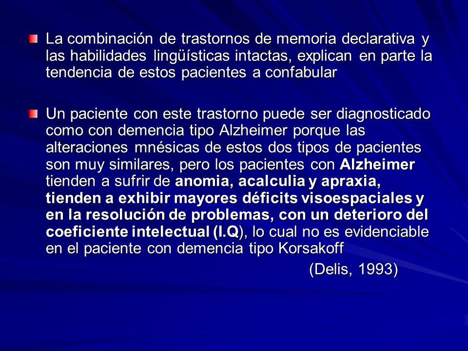 La combinación de trastornos de memoria declarativa y las habilidades lingüísticas intactas, explican en parte la tendencia de estos pacientes a confabular Un paciente con este trastorno puede ser diagnosticado como con demencia tipo Alzheimer porque las alteraciones mnésicas de estos dos tipos de pacientes son muy similares, pero los pacientes con Alzheimer tienden a sufrir de anomia, acalculia y apraxia, tienden a exhibir mayores déficits visoespaciales y en la resolución de problemas, con un deterioro del coeficiente intelectual (I.Q), lo cual no es evidenciable en el paciente con demencia tipo Korsakoff (Delis, 1993)