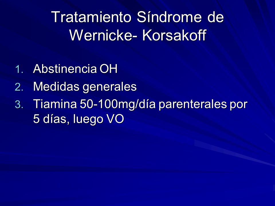 Tratamiento Síndrome de Wernicke- Korsakoff 1.Abstinencia OH 2.