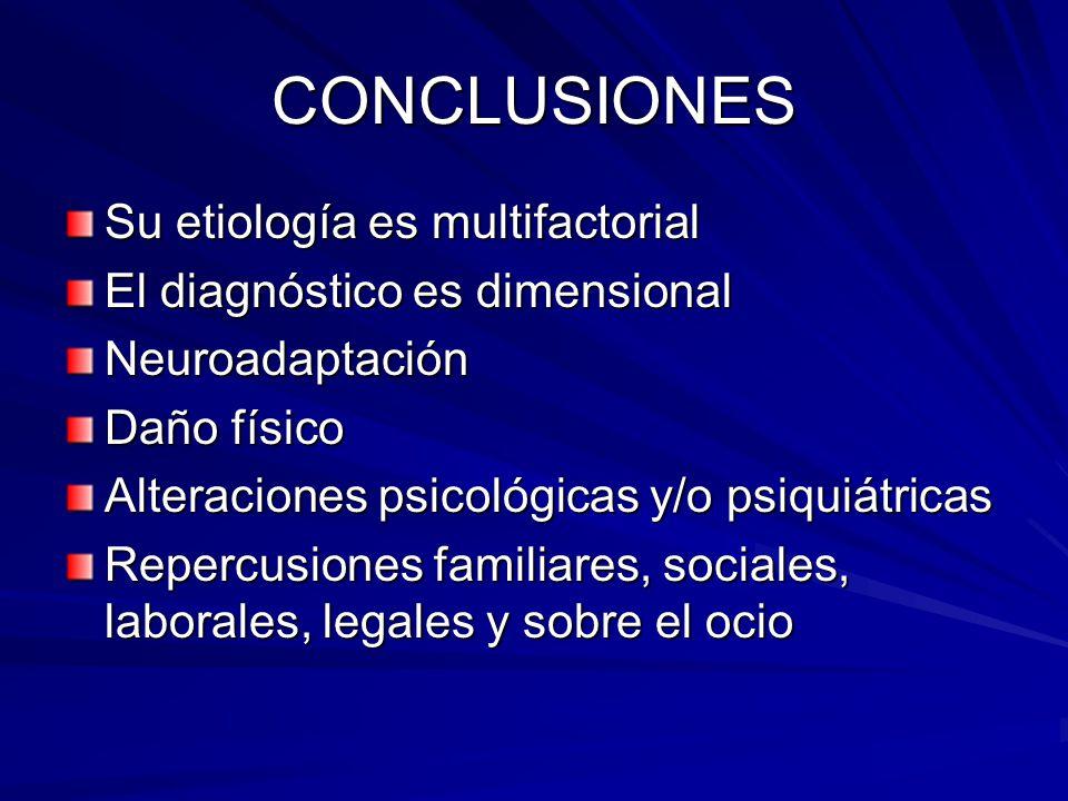 CONCLUSIONES Su etiología es multifactorial El diagnóstico es dimensional Neuroadaptación Daño físico Alteraciones psicológicas y/o psiquiátricas Repercusiones familiares, sociales, laborales, legales y sobre el ocio