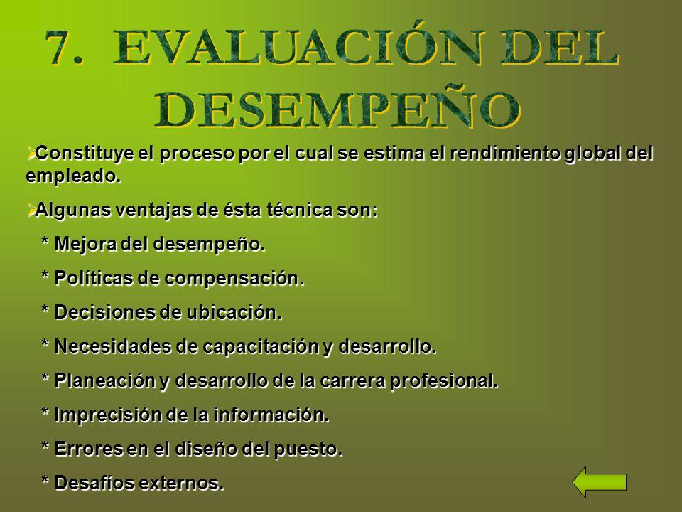 Constituye el proceso por el cual se estima el rendimiento global del empleado.