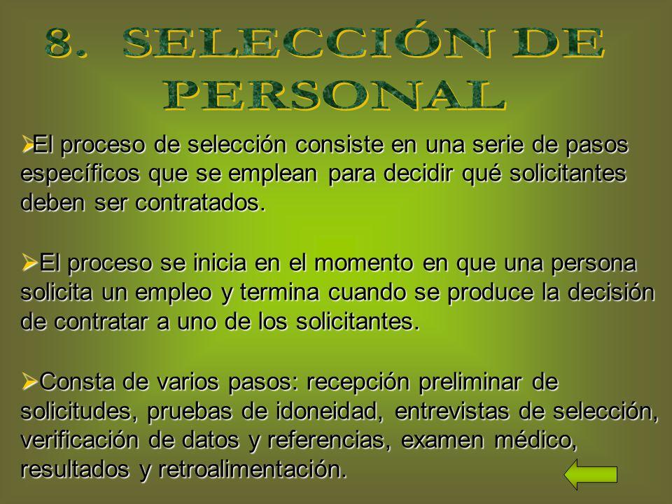 El proceso de selección consiste en una serie de pasos específicos que se emplean para decidir qué solicitantes deben ser contratados.