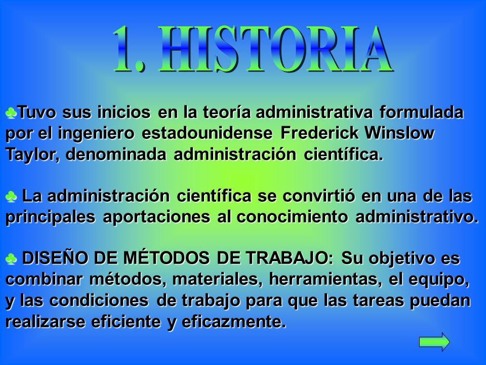 Tuvo sus inicios en la teoría administrativa formulada por el ingeniero estadounidense Frederick Winslow Taylor, denominada administración científica.Tuvo sus inicios en la teoría administrativa formulada por el ingeniero estadounidense Frederick Winslow Taylor, denominada administración científica.