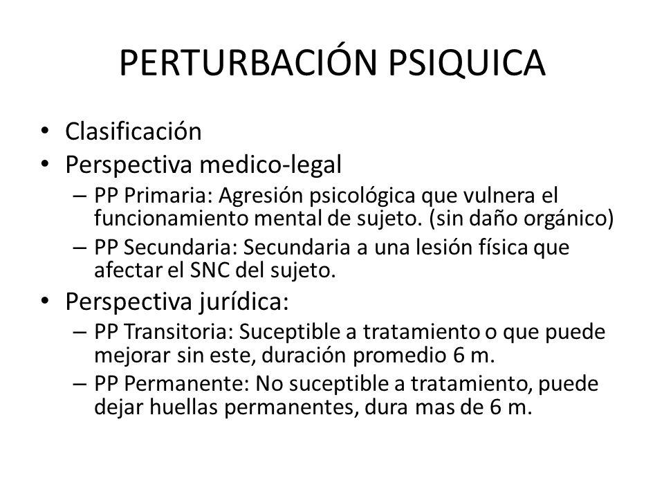 PERTURBACIÓN PSIQUICA Clasificación Perspectiva medico-legal – PP Primaria: Agresión psicológica que vulnera el funcionamiento mental de sujeto. (sin