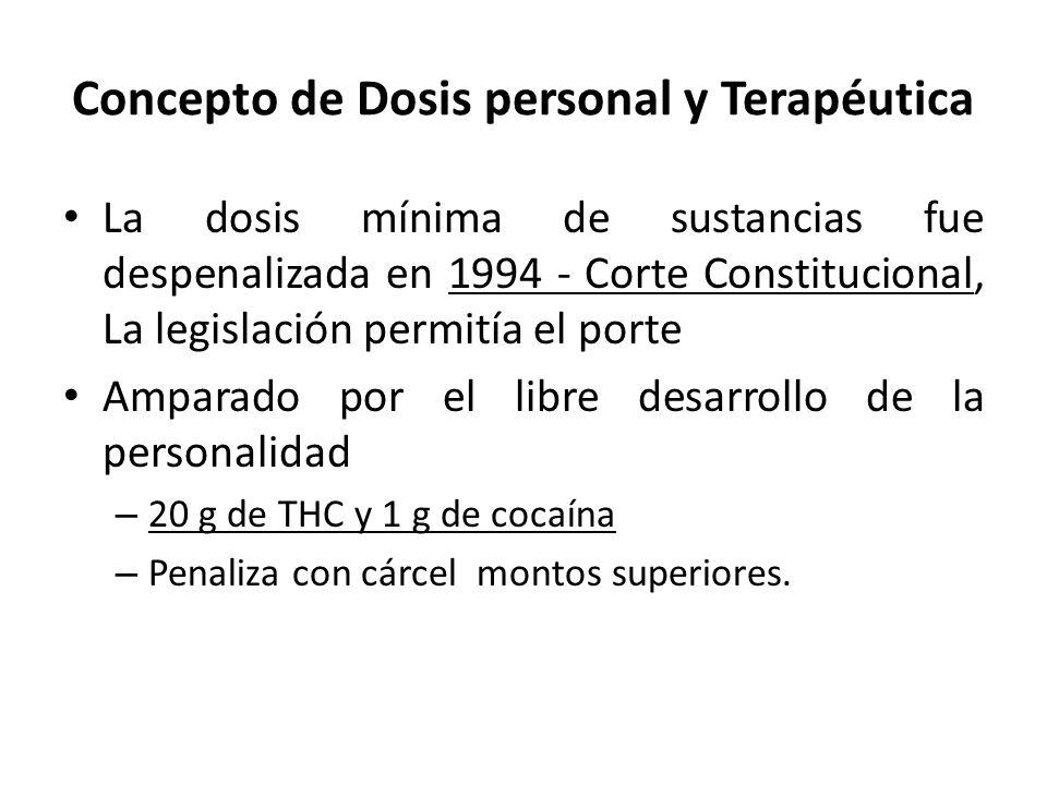 Concepto de Dosis personal y Terapéutica La dosis mínima de sustancias fue despenalizada en 1994 - Corte Constitucional, La legislación permitía el po