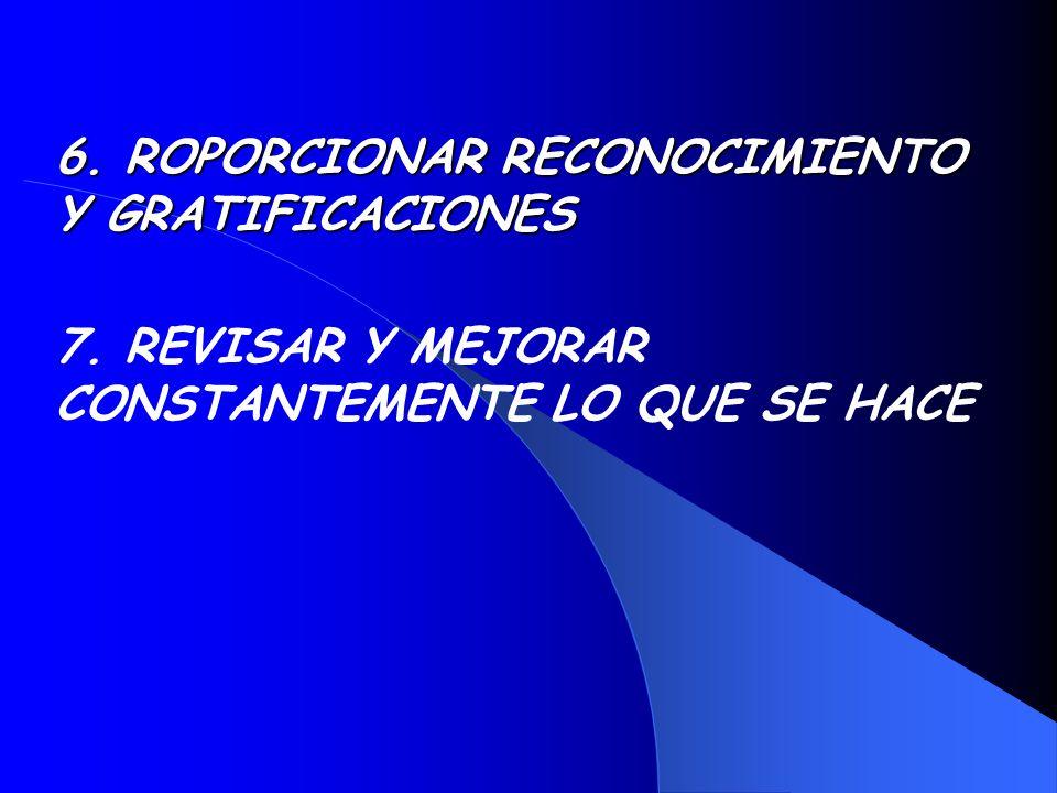 6. ROPORCIONAR RECONOCIMIENTO Y GRATIFICACIONES 7. REVISAR Y MEJORAR CONSTANTEMENTE LO QUE SE HACE