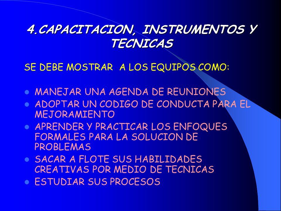 EQUPOS PARA EL MEJORAMIENTO IMPLANTARAN TAREAS QUE APOYEN LAS METAS ESTRATEGICAS DE CALIDAD DEBEN ESTAR CAPACITADOS EN INSTRUMENTOS Y TECNOLOGIAS DE ANALISIS DE PROCESOS NECESITAN RECURSOS COMO TIEMPO, MATERIALES E INSTALACIONES RECIBIRAN ESTIMULOS CONSTANTES Y RECONOCIMIENTOS POR SUS LOGROS