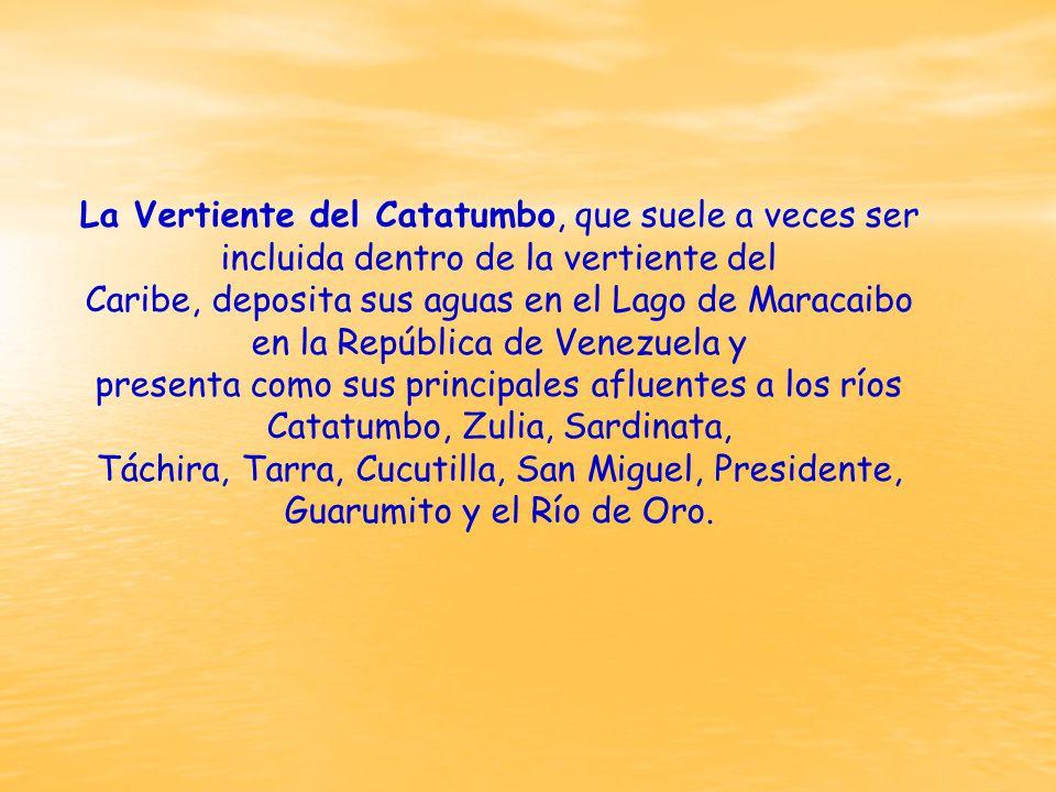 La Vertiente del Catatumbo, que suele a veces ser incluida dentro de la vertiente del Caribe, deposita sus aguas en el Lago de Maracaibo en la República de Venezuela y presenta como sus principales afluentes a los ríos Catatumbo, Zulia, Sardinata, Táchira, Tarra, Cucutilla, San Miguel, Presidente, Guarumito y el Río de Oro.