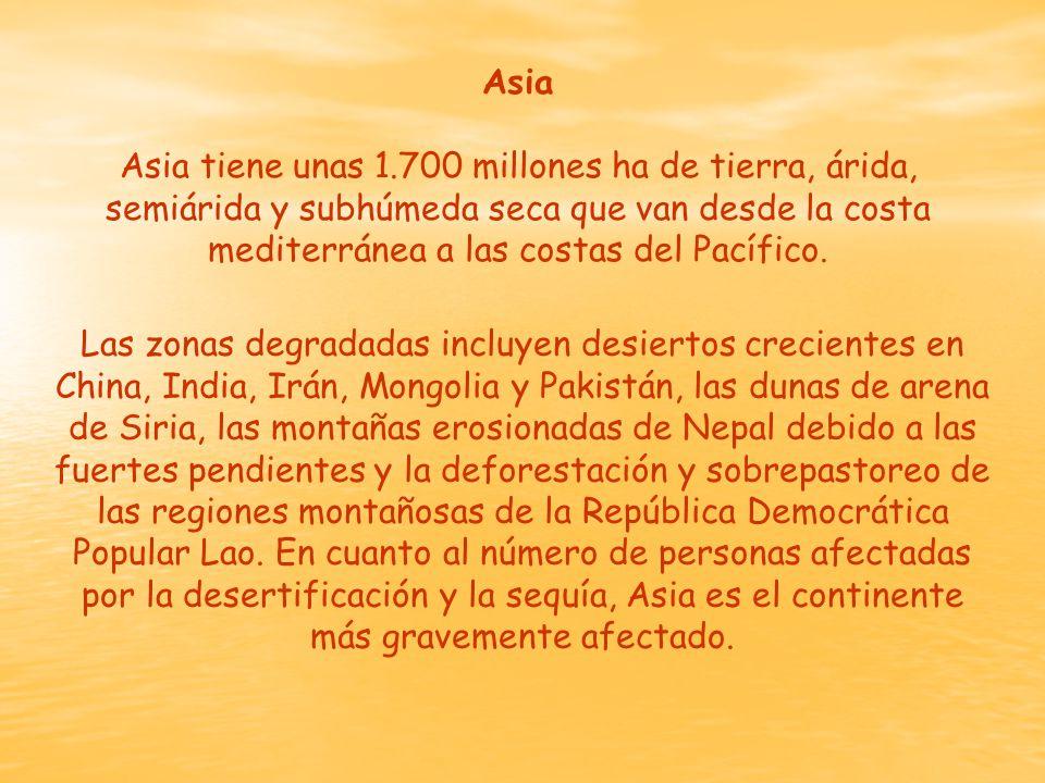 Asia Asia tiene unas 1.700 millones ha de tierra, árida, semiárida y subhúmeda seca que van desde la costa mediterránea a las costas del Pacífico.