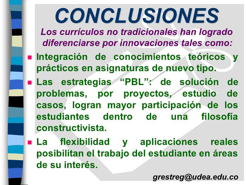 CONCLUSIONES Los currículos no tradicionales han logrado diferenciarse por innovaciones tales como: n Integración de conocimientos teóricos y prácticos en asignaturas de nuevo tipo.