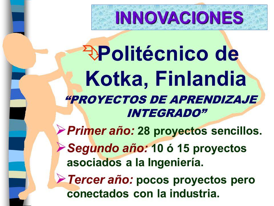 Ê Politécnico de Kotka, Finlandia PROYECTOS DE APRENDIZAJE INTEGRADO Ø Primer año: 28 proyectos sencillos.