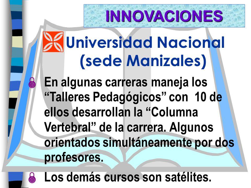 Ì Universidad Nacional (sede Manizales) En algunas carreras maneja los Talleres Pedagógicos con 10 de ellos desarrollan la Columna Vertebral de la carrera.