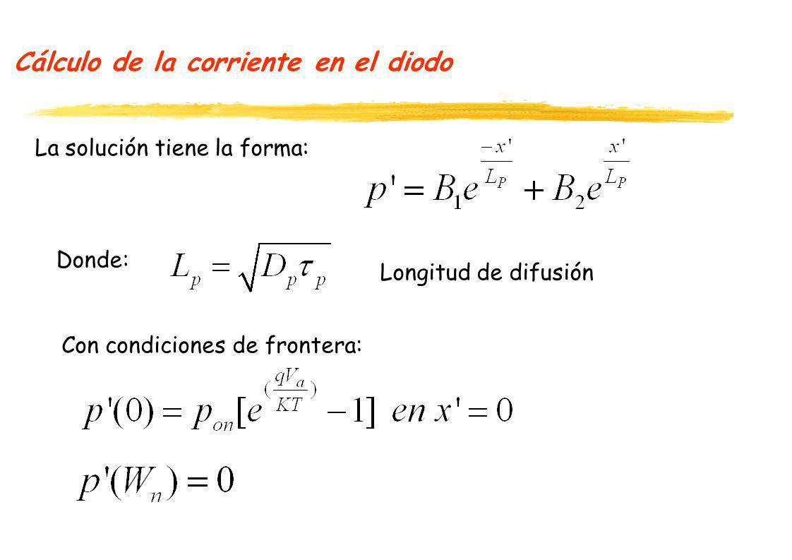 Cálculo de la corriente en el diodo La solución tiene la forma: Donde: Con condiciones de frontera: Longitud de difusión