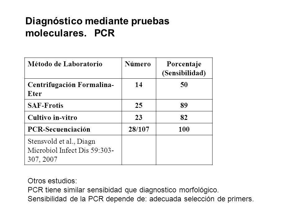 Diagnóstico mediante pruebas moleculares. PCR Método de LaboratorioNúmeroPorcentaje (Sensibilidad) Centrifugación Formalina- Eter 1450 SAF-Frotis2589