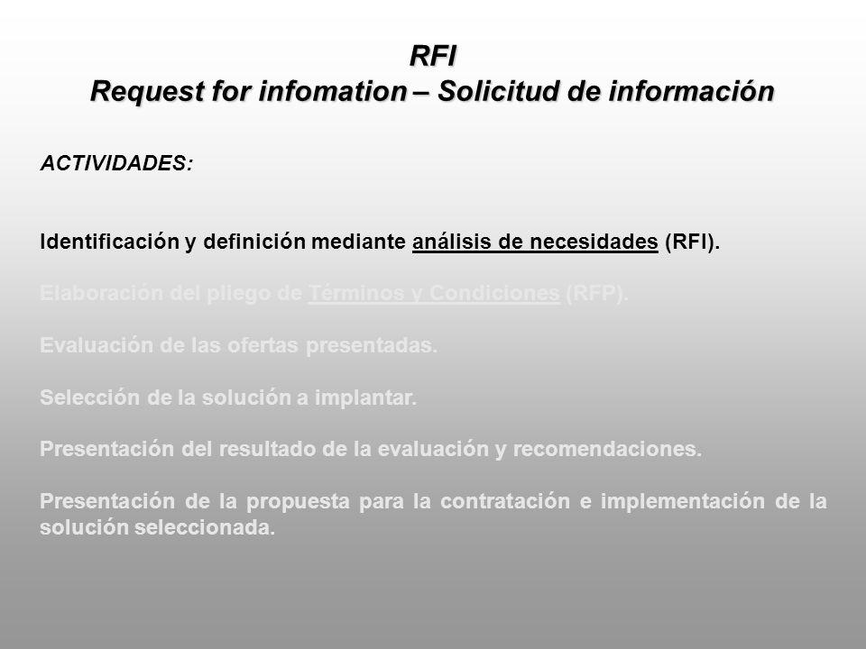 RFI DEFINICIÓN: Procedimiento estándar de negocios cuyo propósito es recolectar información escrita acerca de la capacidad instalada de un grupo de proveedores.