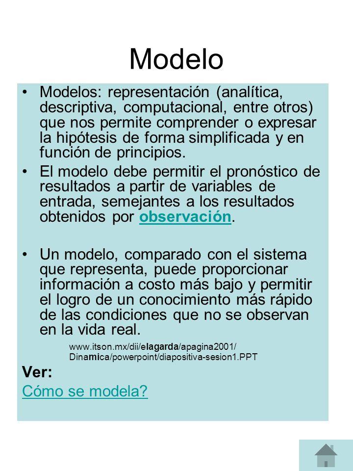 Modelo Modelos: representación (analítica, descriptiva, computacional, entre otros) que nos permite comprender o expresar la hipótesis de forma simplificada y en función de principios.