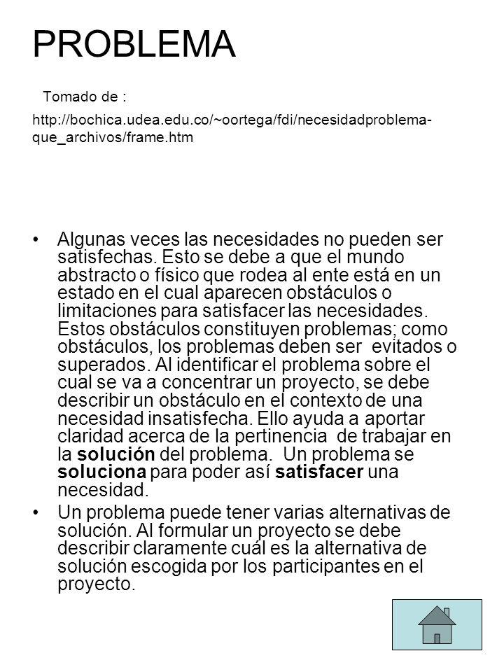 PROBLEMA Tomado de : http://bochica.udea.edu.co/~oortega/fdi/necesidadproblema- que_archivos/frame.htm Algunas veces las necesidades no pueden ser satisfechas.
