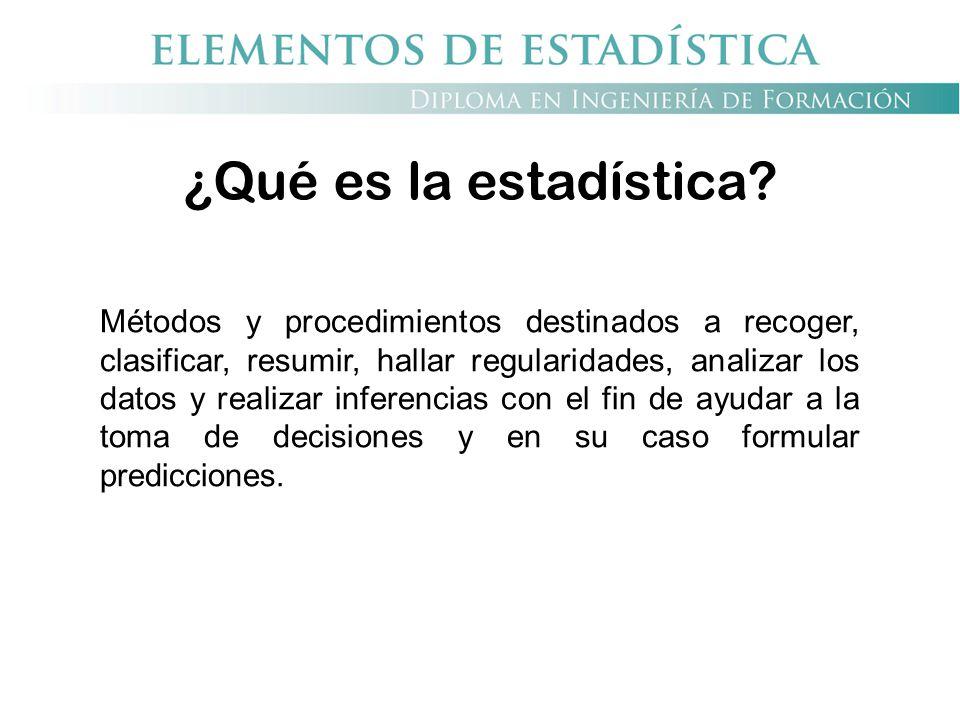 ¿Qué es la estadística? Métodos y procedimientos destinados a recoger, clasificar, resumir, hallar regularidades, analizar los datos y realizar infere
