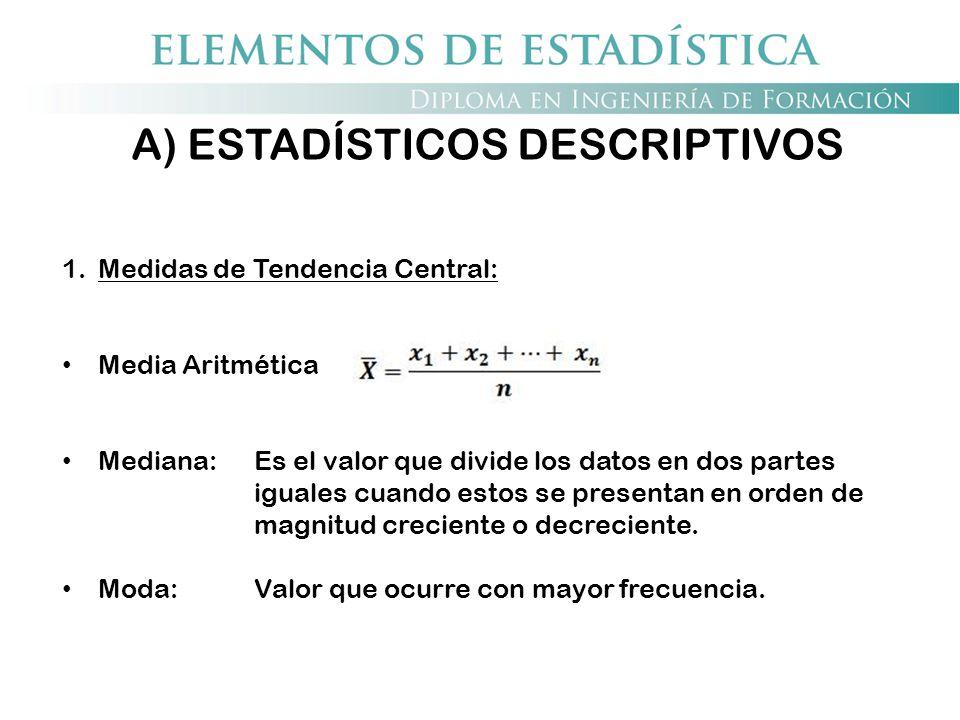 A) ESTADÍSTICOS DESCRIPTIVOS 1.Medidas de Tendencia Central: Media Aritmética Mediana: Es el valor que divide los datos en dos partes iguales cuando e