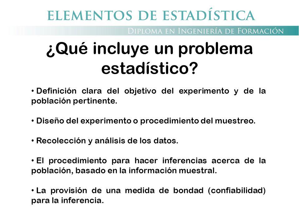 ¿Qué incluye un problema estadístico? Definición clara del objetivo del experimento y de la población pertinente. Diseño del experimento o procedimien