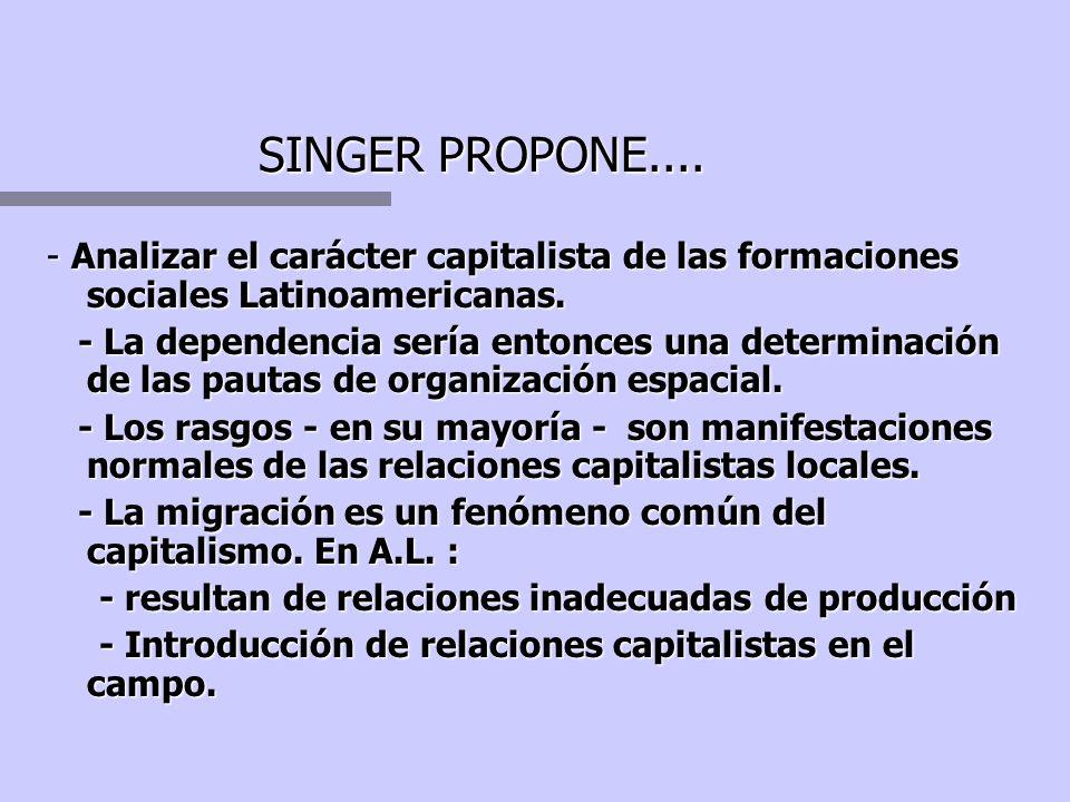 Singer propone... n La concentración industrial y del capital provoca concentración urbana. n El lugar de empleo condiciona el lugar de residencia. n
