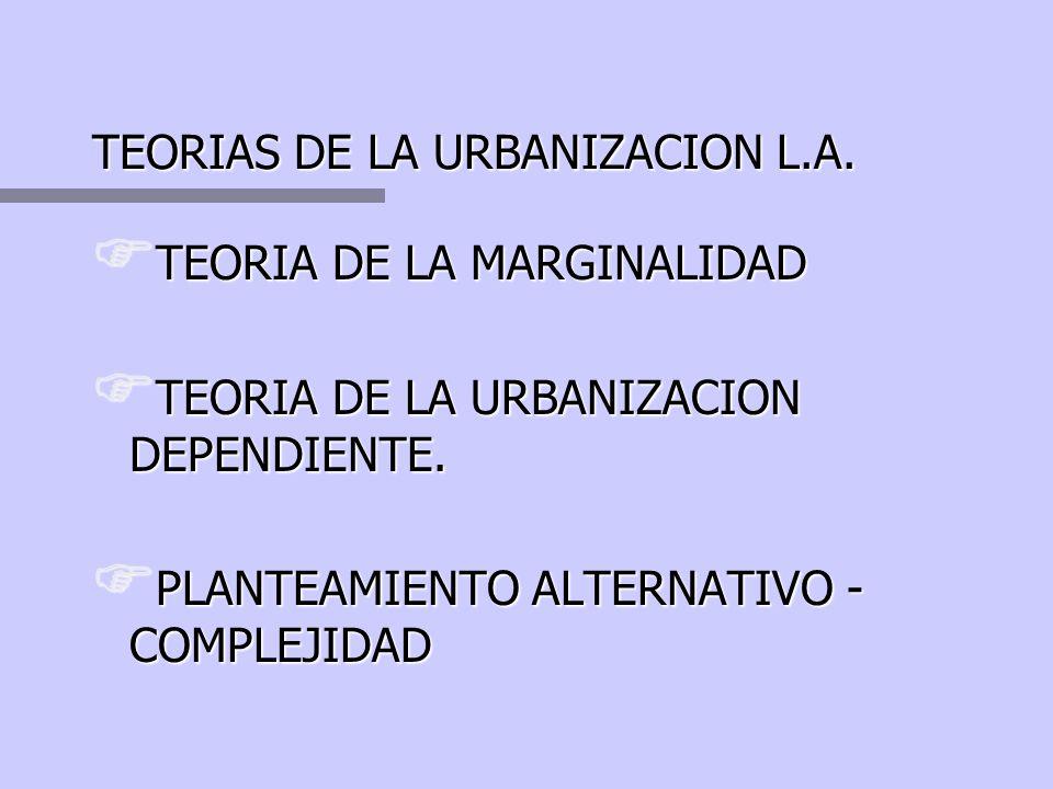 RASGOS DE LA ESPACIALIDAD L.A. Urbanización acelerada: migraciones rural - urbanas. Urbanización acelerada: migraciones rural - urbanas. Red urbana de
