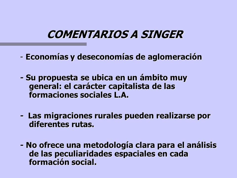 SINGER PROPONE.... - Analizar el carácter capitalista de las formaciones sociales Latinoamericanas. - La dependencia sería entonces una determinación