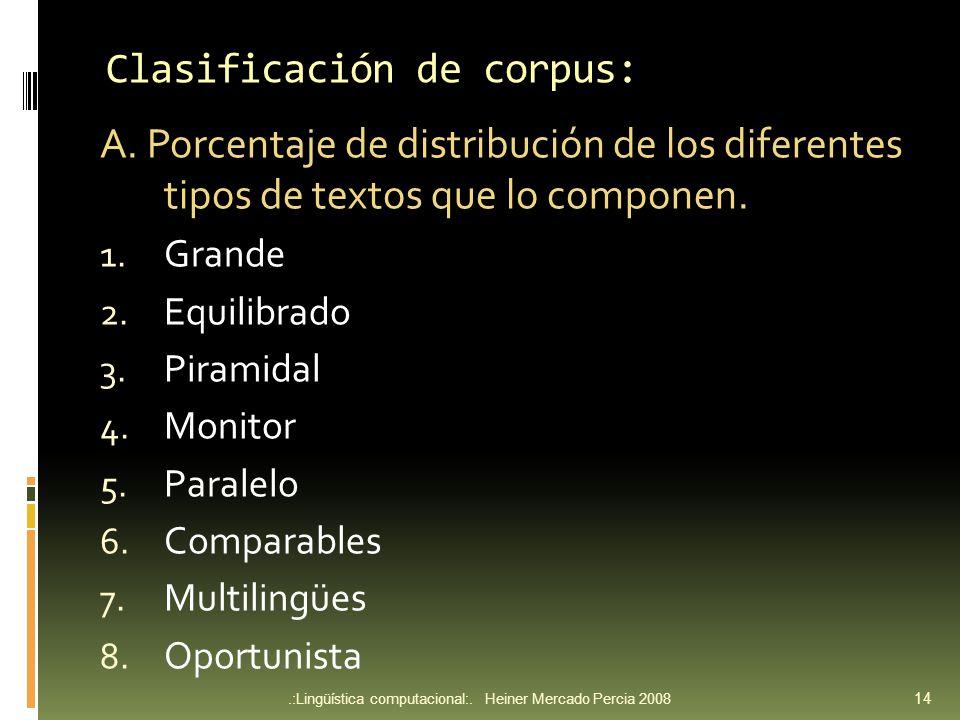 Clasificación de corpus: A.
