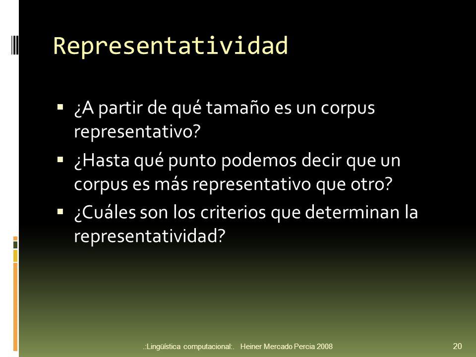 Representatividad ¿A partir de qué tamaño es un corpus representativo.