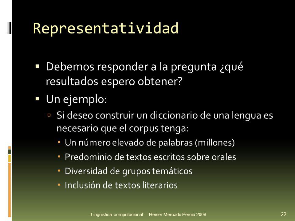 Representatividad Debemos responder a la pregunta ¿qué resultados espero obtener.