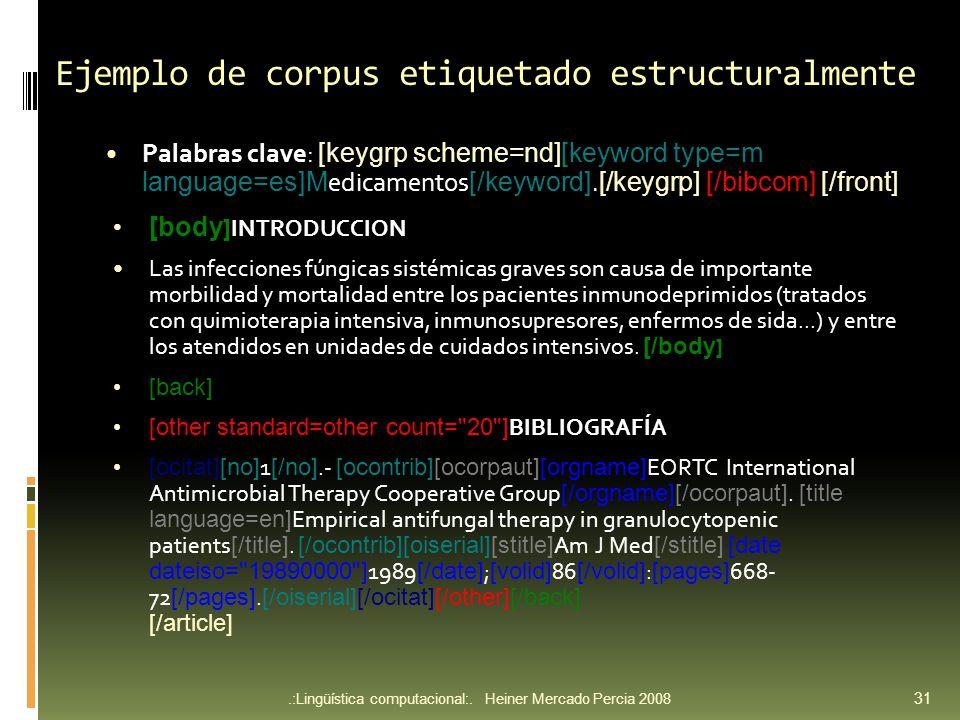 Ejemplo de corpus etiquetado estructuralmente Palabras clave: [keygrp scheme=nd][keyword type=m language=es]M edicamentos [/keyword].