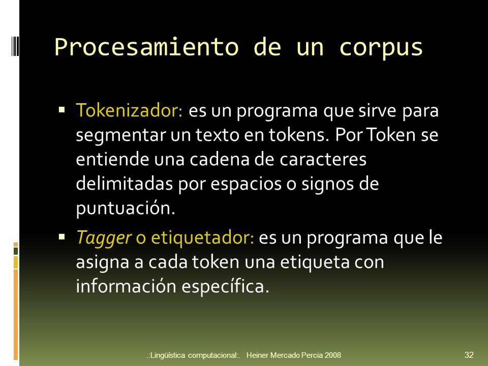 Procesamiento de un corpus Tokenizador: es un programa que sirve para segmentar un texto en tokens.