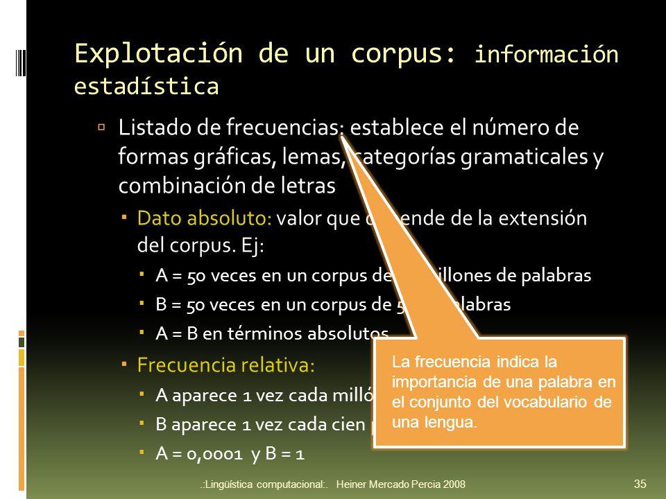 Explotación de un corpus: información estadística Listado de frecuencias: establece el número de formas gráficas, lemas, categorías gramaticales y combinación de letras Dato absoluto: valor que depende de la extensión del corpus.
