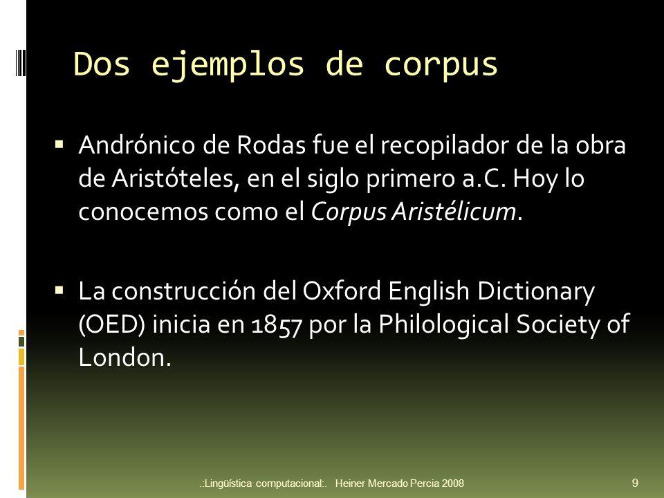 Dos ejemplos de corpus Andrónico de Rodas fue el recopilador de la obra de Aristóteles, en el siglo primero a.C.