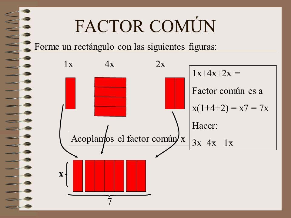 Factor común por agrupación Forme un rectángulo con las siguientes figuras: xy 4x 2y 8u Factor común entre xy y 4x es x Factor común entre 2y y 8u es 2u Y + 4 X+2X+2