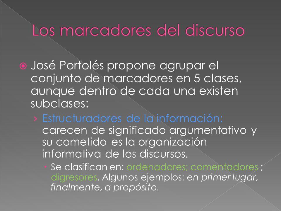 José Portolés propone agrupar el conjunto de marcadores en 5 clases, aunque dentro de cada una existen subclases: Estructuradores de la información: c