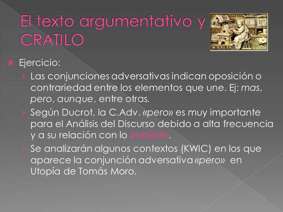 Ejercicio: Las conjunciones adversativas indican oposición o contrariedad entre los elementos que une. Ej: mas, pero, aunque, entre otras. Según Ducro