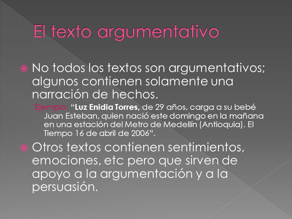 No todos los textos son argumentativos; algunos contienen solamente una narración de hechos. Ejemplo: Luz Enidia Torres, de 29 años, carga a su bebé J