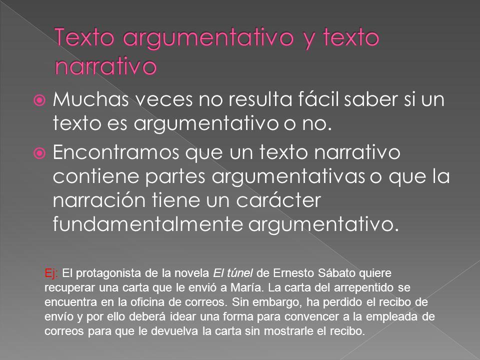 Muchas veces no resulta fácil saber si un texto es argumentativo o no. Encontramos que un texto narrativo contiene partes argumentativas o que la narr