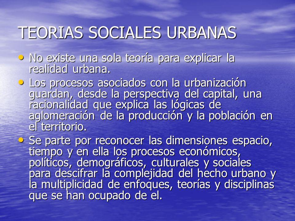 TEORIAS SOCIALES URBANAS No existe una sola teoría para explicar la realidad urbana. No existe una sola teoría para explicar la realidad urbana. Los p