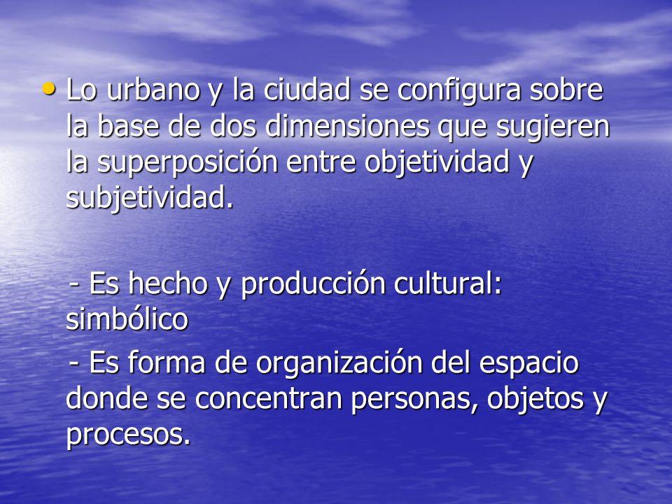 Lo urbano y la ciudad se configura sobre la base de dos dimensiones que sugieren la superposición entre objetividad y subjetividad. Lo urbano y la ciu
