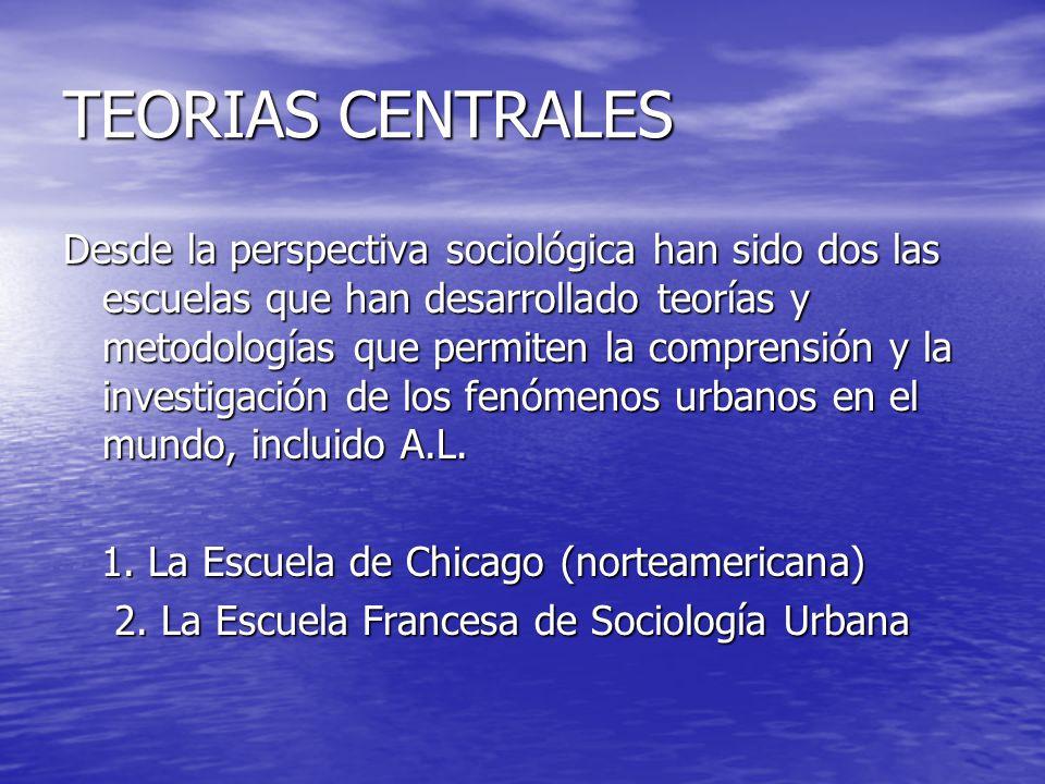 TEORIAS CENTRALES Desde la perspectiva sociológica han sido dos las escuelas que han desarrollado teorías y metodologías que permiten la comprensión y