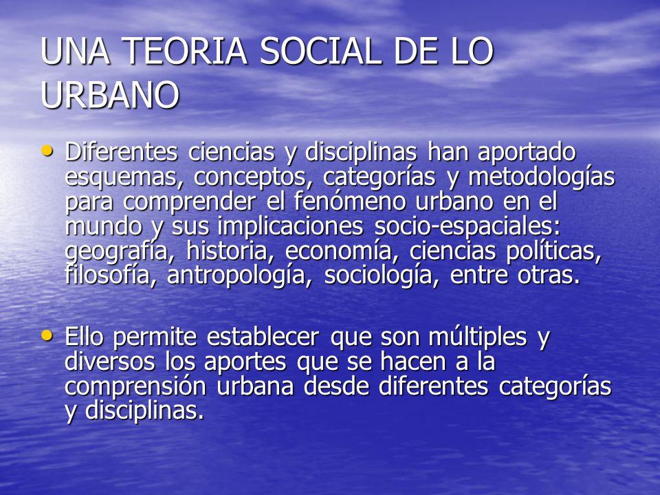 UNA TEORIA SOCIAL DE LO URBANO Diferentes ciencias y disciplinas han aportado esquemas, conceptos, categorías y metodologías para comprender el fenóme
