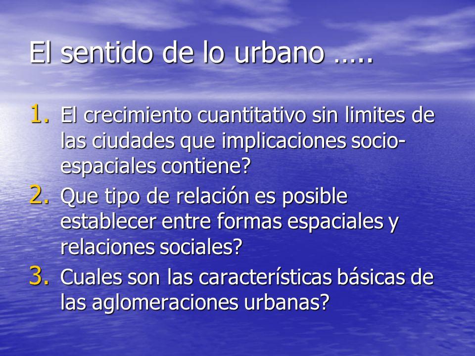 El sentido de lo urbano ….. 1. El crecimiento cuantitativo sin limites de las ciudades que implicaciones socio- espaciales contiene? 2. Que tipo de re